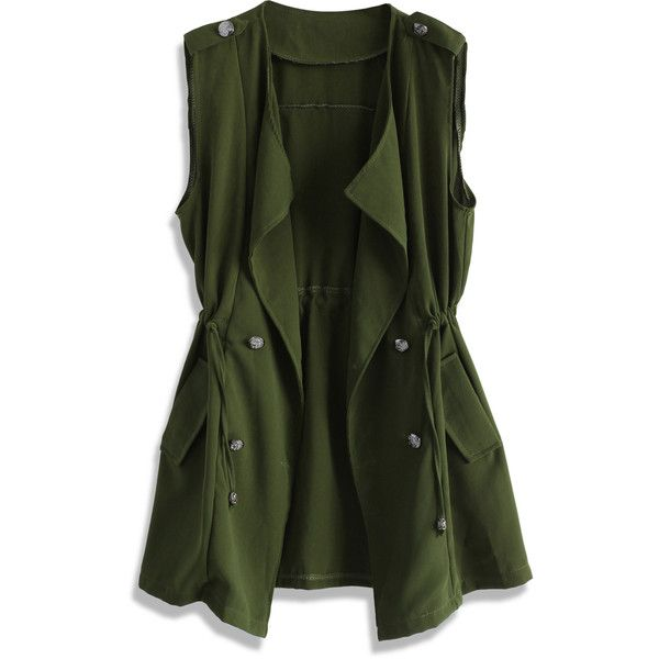 Chicwish Layers of Chic Two Piece Waterfall Trench ($51) ❤ liked on Polyvore featuring outerwear, coats, jackets, green coat, green trench coat, sleeveless coat, long trench coat and trench coat