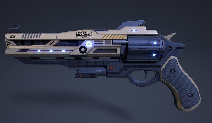 rail pistol 3d model obj fbx mtl 1