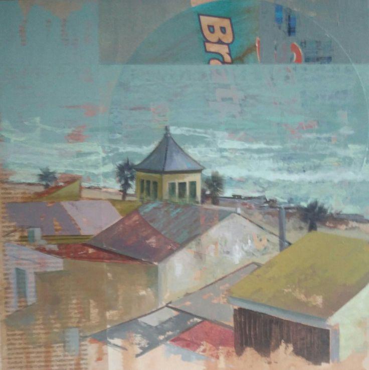 Urbana Rustica XXXVII -  Invierno en Mavarrosa - Valencia.  Collages + Acrílico / 30 x 30 cm.