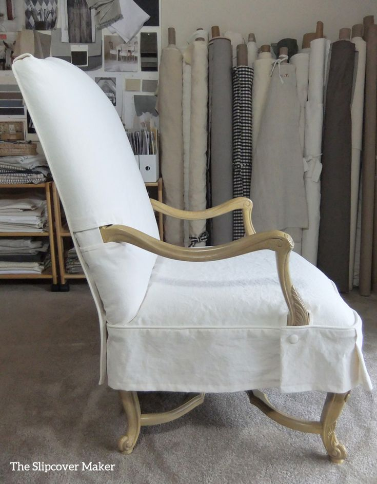 A washed natural canvas slipcover transforms this French chair from formal to casual.