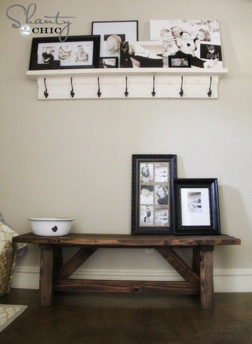 40 Rustic Home Decor Ideas You Can Build Yourself  I want this shelf with hooks in my laundry room