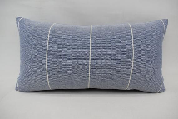 Washable Pillow 12 X 24 Pillow Cover Throw Pillow Striped Pillow Blue Pillow Natural Pillow Lu Washable Pillow Natural Pillows Pillows
