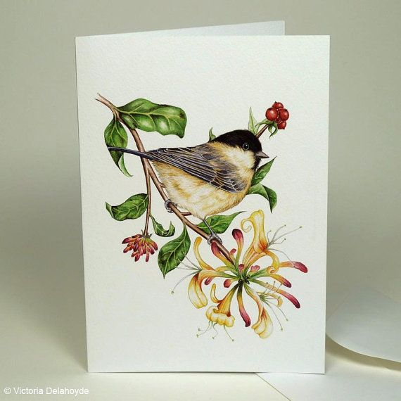Chickadee Bird Painting, Willow tit watercolour, Large Luxury Greeting Card, Botanical Painting, Nature Art, Bird Illustration, Honeysuckle