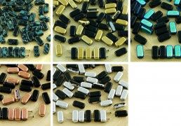 40pcs Opaque Jet Black Bricks Czech Glass Beads 2 Two Hole 4mm x 8mm