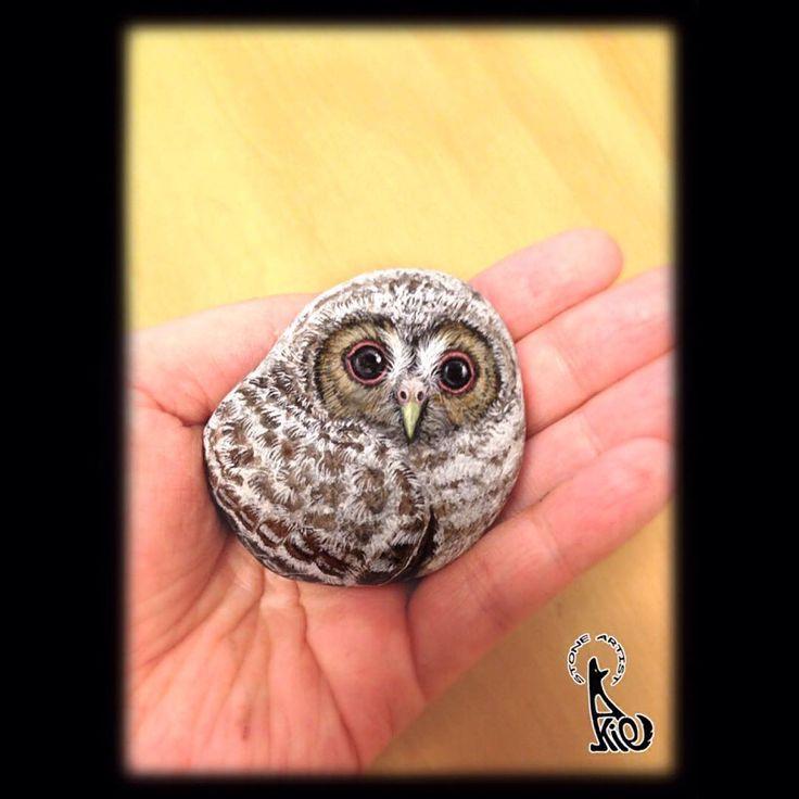 今朝、めざましテレビの『モアセブン』にて、制作過程を丁寧に取材して頂いたモリフクロウの雛の作品です。 出会った石の柔らかな風合いとあたたかな形に雛を見つけて、手の中で大切に仕上げました。 描き込む瞳と目が合った時は本当に嬉しかったです。 記念に『目覚雛』と名付けました。 #モアセブン #めざましテレビ #ストーンアート #akie #stoneart #owl #drawing #painting #フクロウ