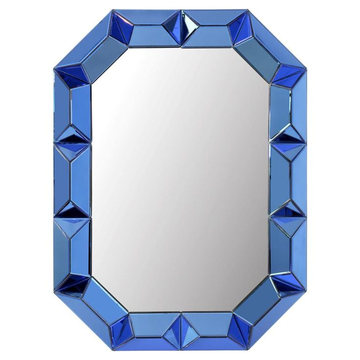 Gene Hollywood Regency Blue Framed Wall Mirror