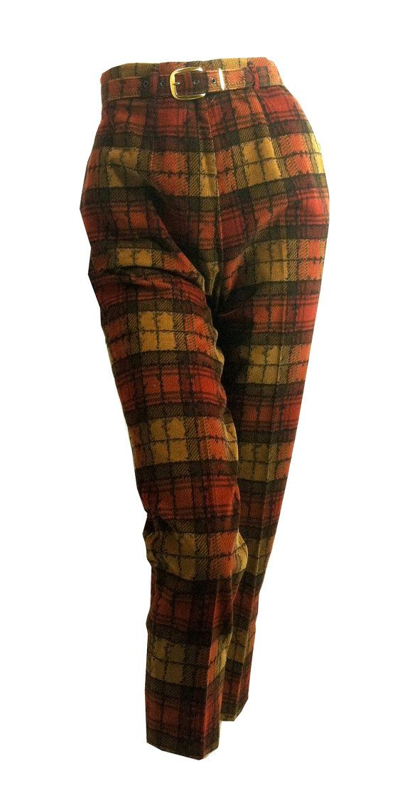 vintage Spice Hued Plaid Tapered Corduroy Pants 1960s by DorotheasCloset, $80.00