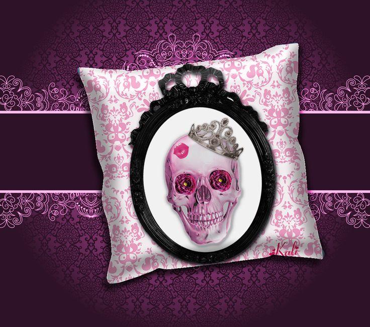 """Coussin """"Pink Lady skull"""" kali-créatrice-original création unique : Textiles et tapis par kali-creatrice-original"""