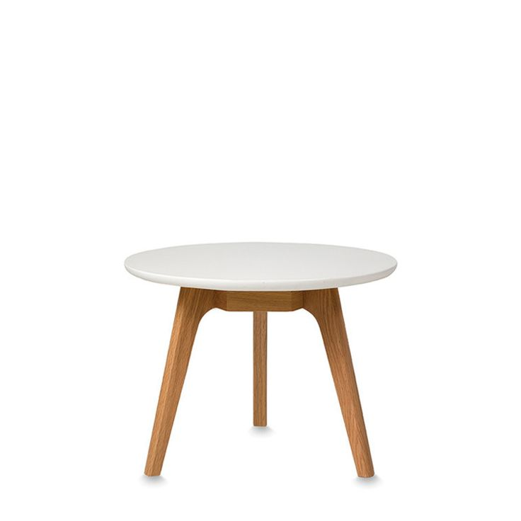 American Oak Small Coffee Table With White Lacquered Top