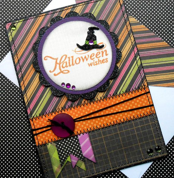 Halloween Card with Matching Embellished by SewColorfulDesigns, $5.00