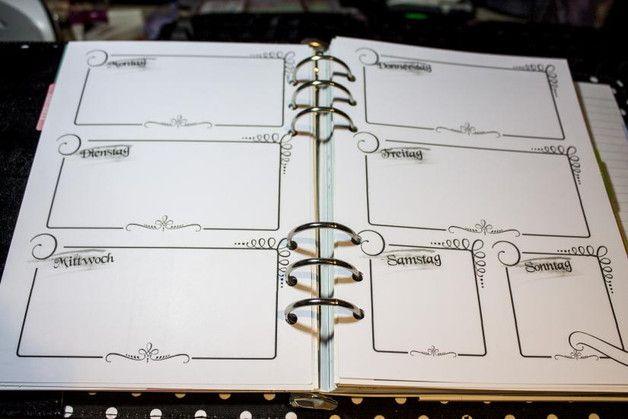 Liebevoll gestaltete Wochen-Kalendereinlagen, wahlweise in den Größen A5, personal oder pocket.   Eine Woche auf zwei Seiten - individuell datierbar (siehe Beispielfoto).  Design wird per Mail...