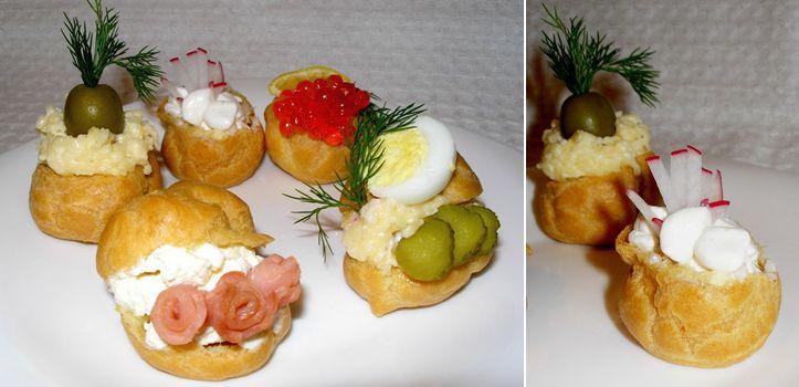 Нарядно и красиво - новогодние закуски раскладываем в профитроли, заворачиваем в блины и др. / Салаты, соусы, закуски, напитки