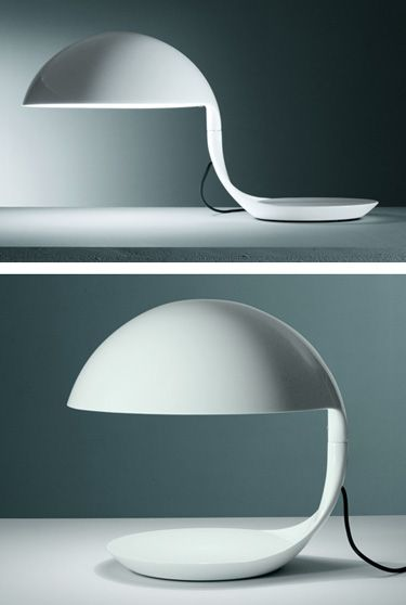 Martinelli Luce: Elio Martinelli Cobra Table Lamp in White | NOVA68 Modern Design