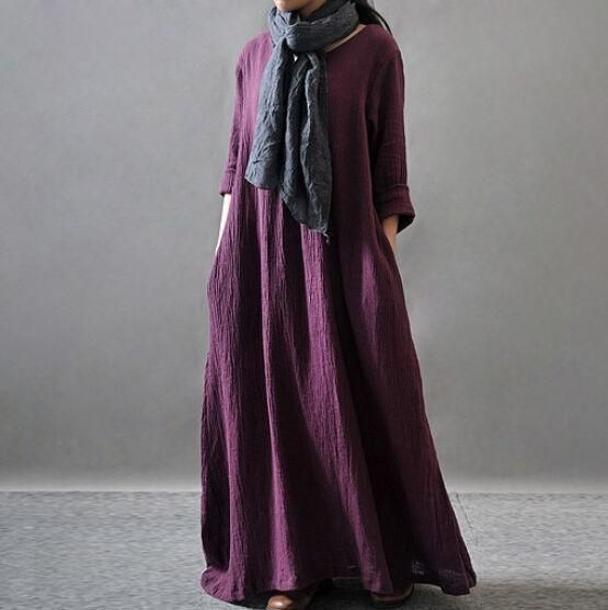 Womens Long Dress Ladies Retro Maxi Loose Cotton And Linen Arab Gown Kaftan