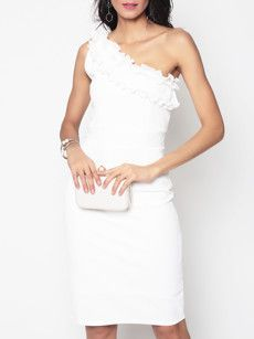 Fashionmia white one shoulder short dress - Fashionmia.com