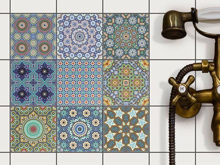Stickers carrelage - Film adhésif décoratif carreau   mosaique carrelage - Moderniser salle de bains et cuisine   Stickers carrelage - Design Mosaïque Orientale - 10x10 cm - 9 pièces: Amazon.fr: Cuisine & Maison