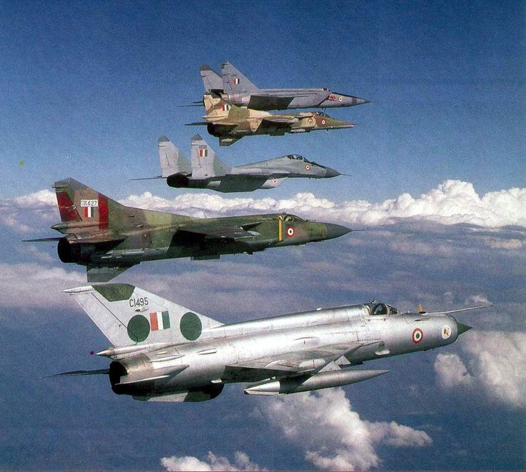 The MiG family! Indian Air Force MiG 25, MiG 27, MiG 29, MiG 23 and Mig 21 flying in formation.