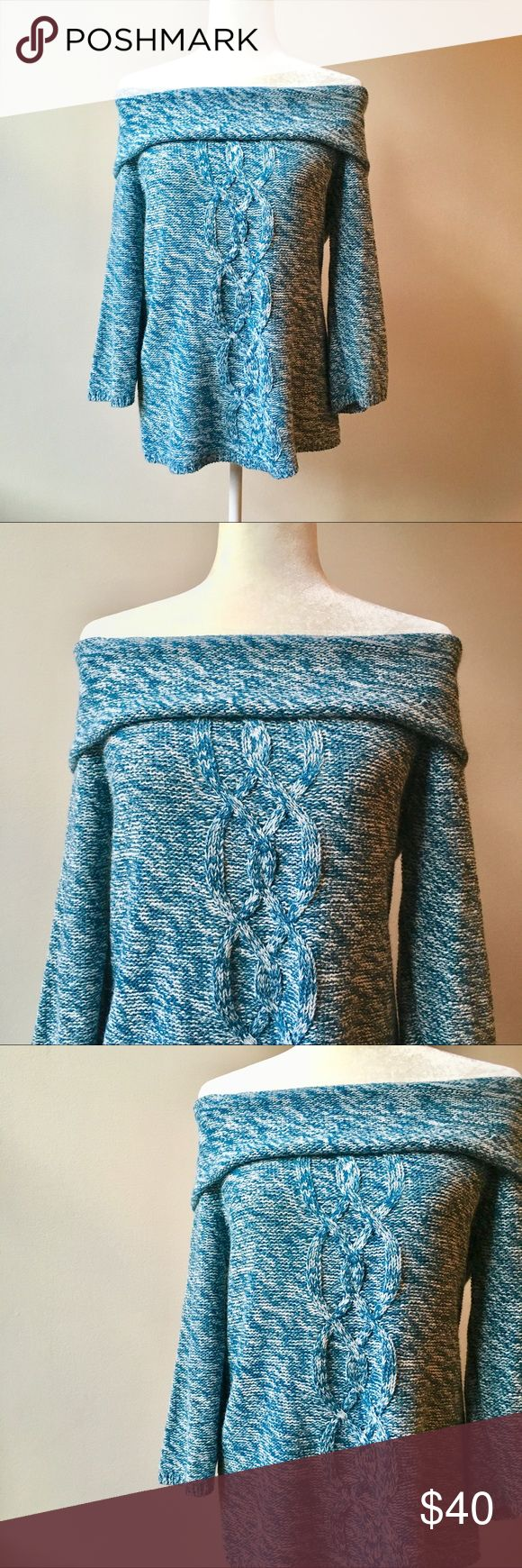 Olivia Sky Blue Cable Knit Off the Shoulder Top Olivia Sky Blue Cable Knit Off the Shoulder Top Sz Medium. Link Knit pattern, heathered blue. This is a Nordstrom Rack and Bloomingdales brand if unfamiliar. ✨Offers welcome✨ ID1.69ndl LOCE Olivia Sky Tops Blouses