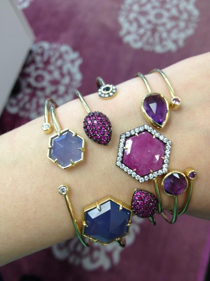 Todays Jemma Wynne stack includes rich Pinks and Purples. Loving the new one of a kind sapphire slice mixed with shades of lavender and purple and diamonds of course!