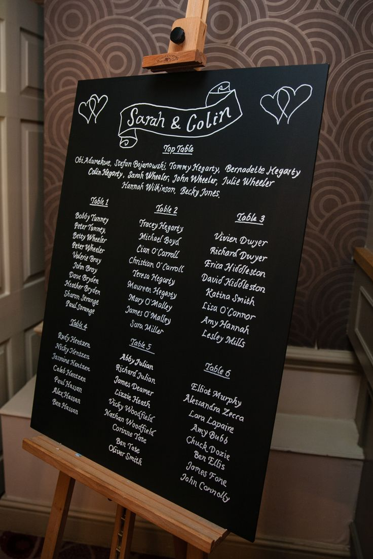 Chalk blackboard seating plan.