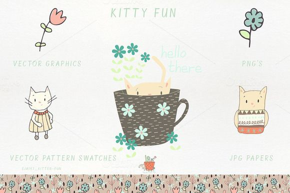 Kitty Fun Vector Patterns PNG Papers by Studio Julie Ann on @creativemarket