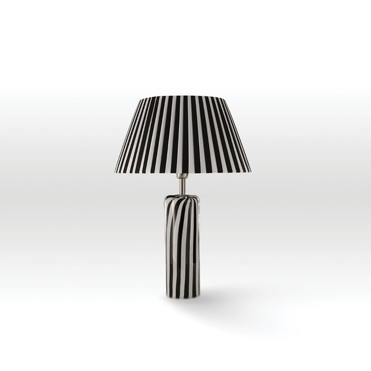 Black&White #stripes. Artistic #glass #hand-made table lamp with lampshade.