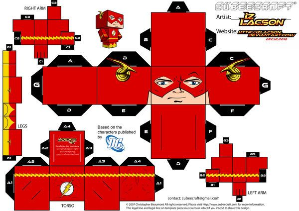 The Flash Cubeecraft http://izlacson.deviantart.com/art/004-B-Allen-Flash-Template-189675844