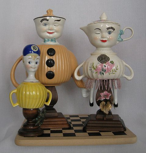 china sugar bowls, teapots, cups, creamers and candlesticks, lamp base assemblage figures....Bailey Family