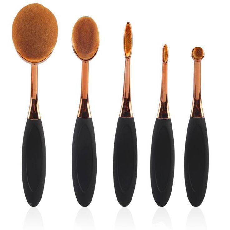 11.99$  Watch now - LCBOX 5PC Gold Oval Face Makeup Brushes BB Cream Base Powder Blusher Cosmetics Professional Blending Brush Kit  #bestbuy