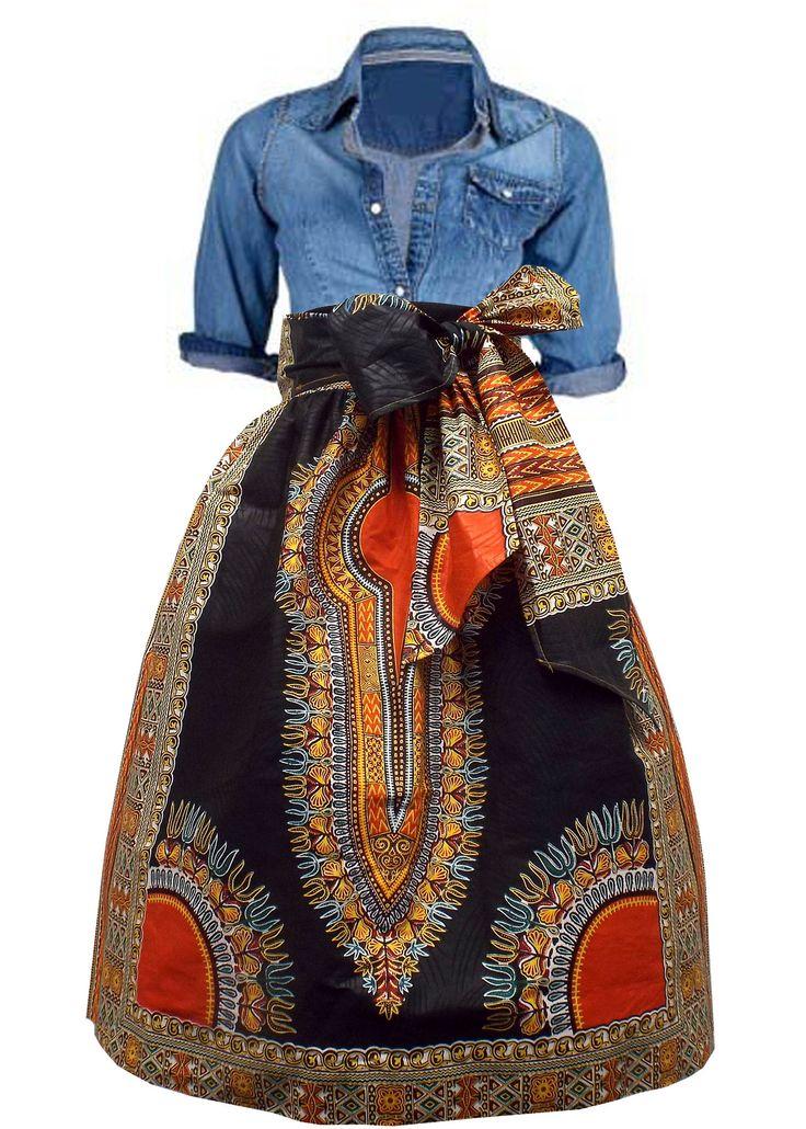 Naya African Print Dashiki Midi Skirt with Sash (Black/Orange)