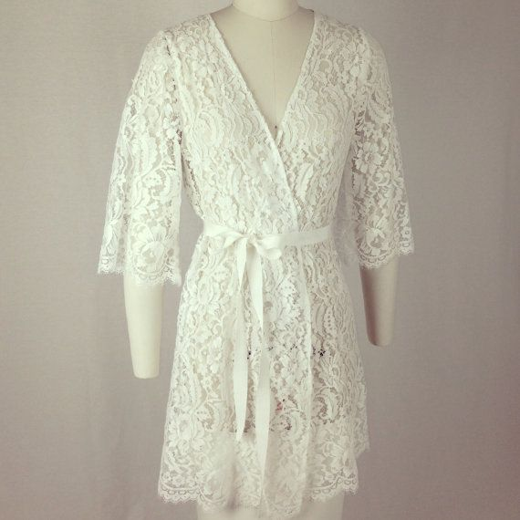 I need for the Wedding Day! but holy expensive!!!!  Kate French Lace wedding robe wrap in off by girlwithseriousdream, $289.99