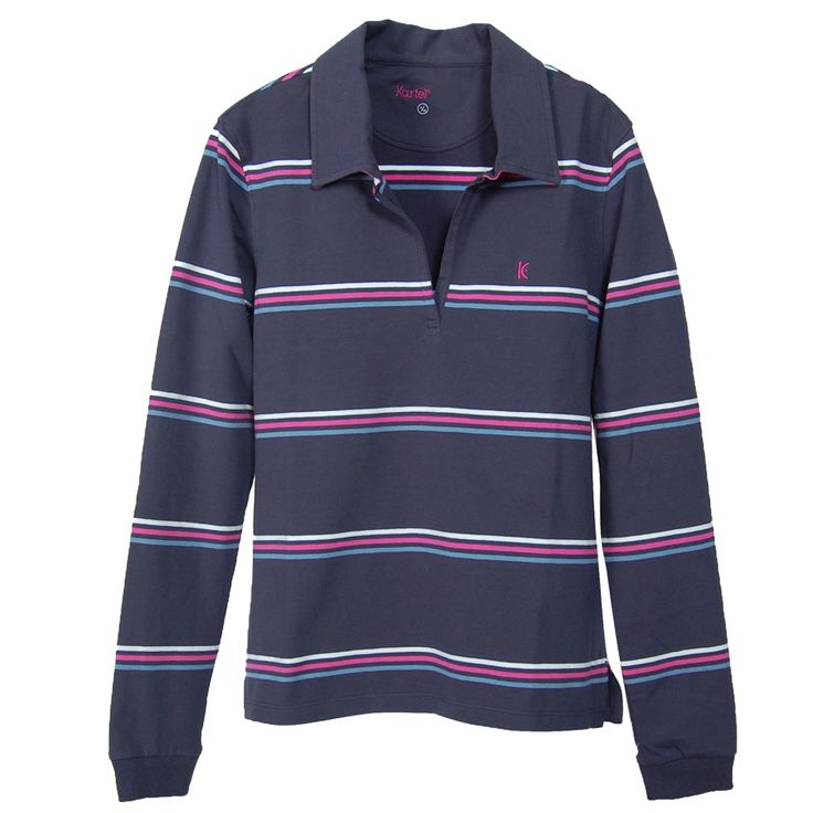 Kew 8-16 in Navy, Ladies long sleeve collared top.