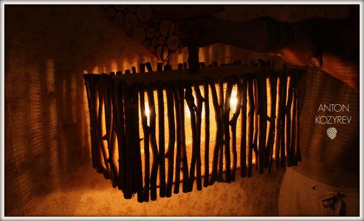 люстра из коряг (из веток) на 3 лампочки / Driftwood