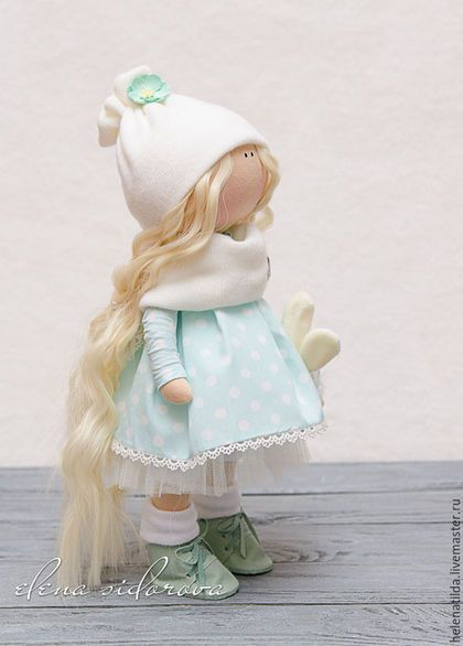 muñecas de colección hechos a mano.  niña de menta.  Elena Sidorova.  Tienda en línea Feria Maestros.  Blanco, Decoración, géneros de punto de cachemir