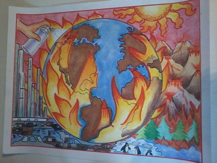 Dibujo en cartulina Contaminación ambiental