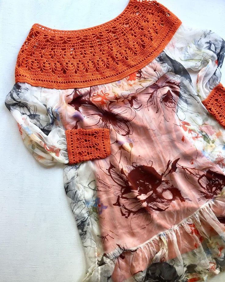 Платье в стиле Бохо. Из шелкового шифона, кокетка и манжеты связаны крючком