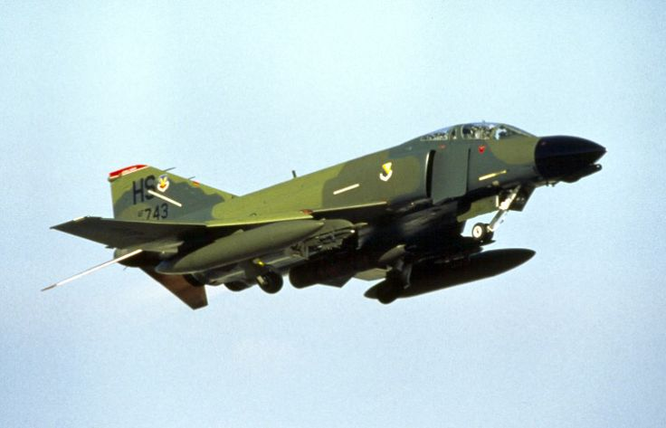 USAF McDonnell F-4 Phantom comes in to land.