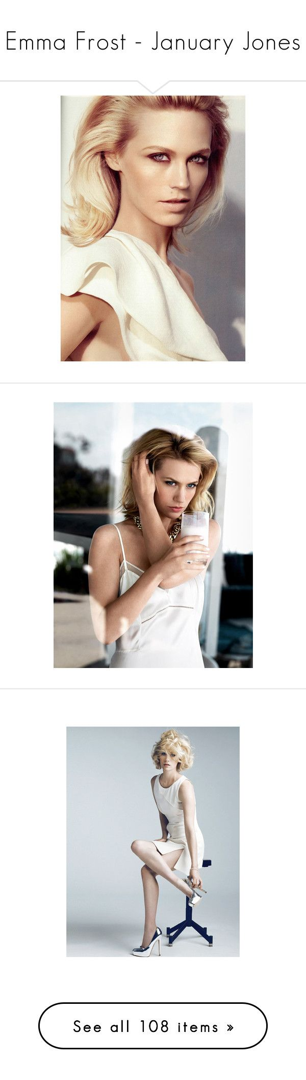"""""""Emma Frost - January Jones"""" by carla-turner-bastet ❤ liked on Polyvore featuring models, people, ad campaign, january jones, versace, editorials, covers, backgrounds, black and white and image"""