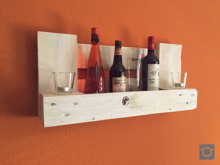 Weinregale - Paletten Weinregal Weiß Palettenmöbel aus EPAL - ein Designerstück von StefanDrewes_WoodFactory bei DaWanda