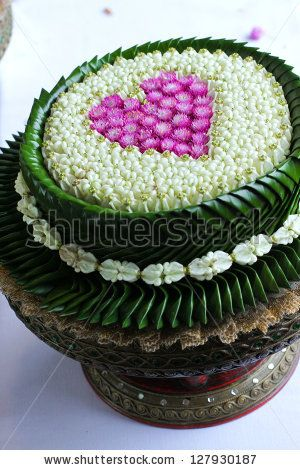 Thai flower heart shaped on tray with pedestal. by yuwadee ruangtantawat