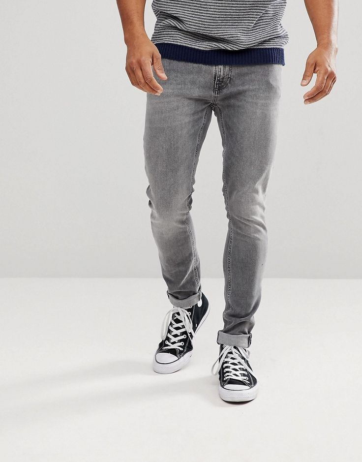 Nudie Jeans Co Skinny Lin Jean Gray Wolf Wash - Gray