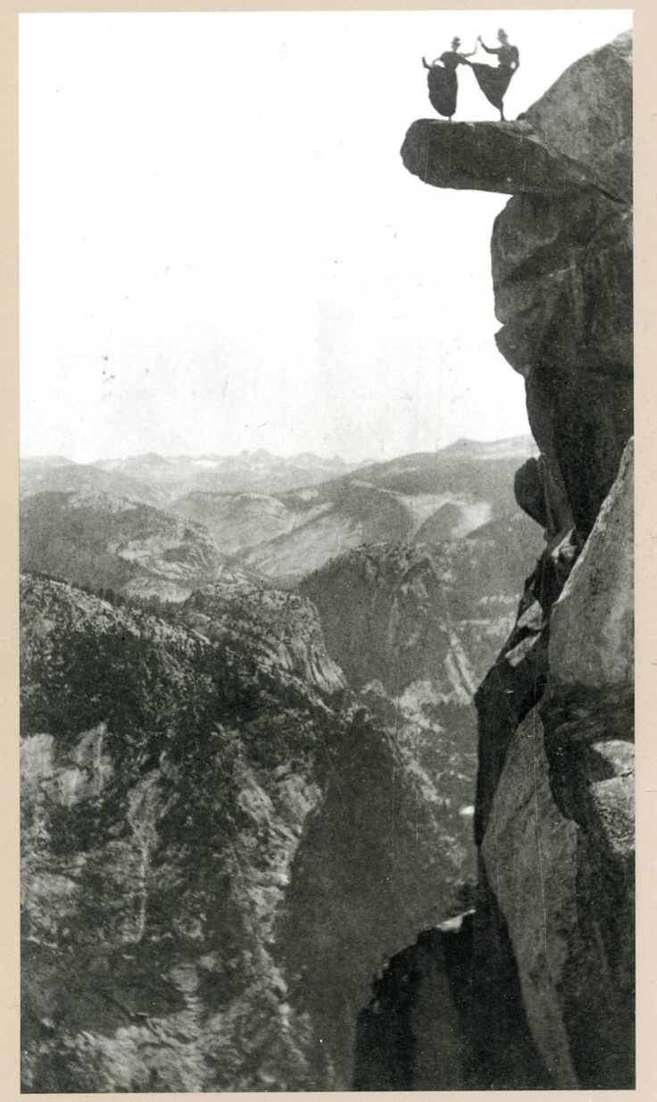 Dancing ladies on overhanging rock at Yosemite by George Fiske - 1890