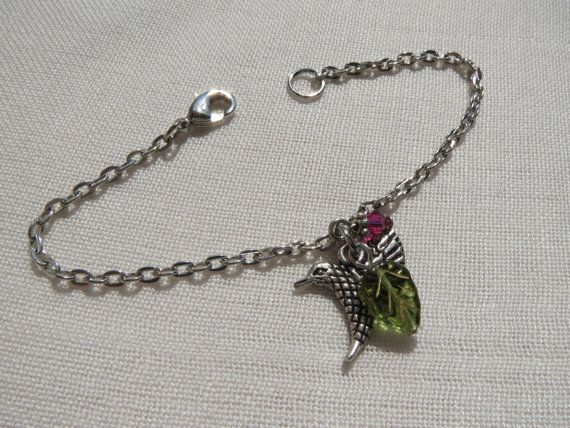 Hummingbird Charm Bracelet    Green Leaf and Red by Thielen, $9.95