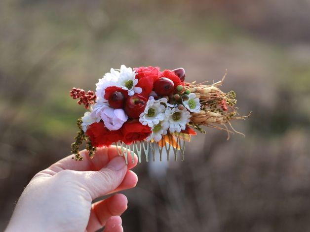 Peinetas y peinecillos - peineta flores - hecho a mano por magaela en DaWanda