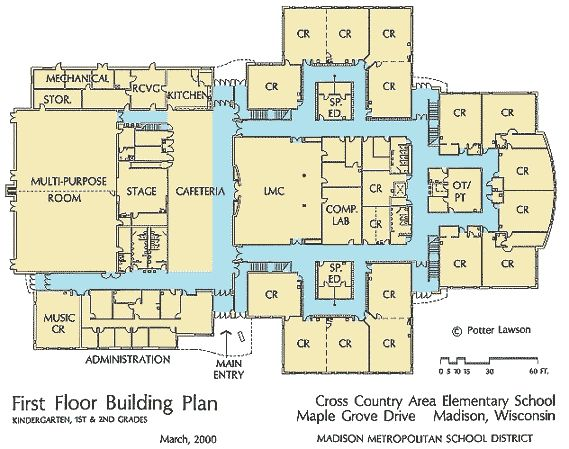[First Floor Plan of the New Elementary School.]
