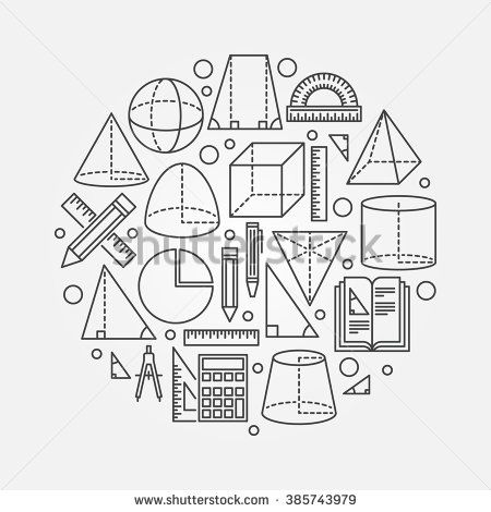 Trigonometry and geometry illustration - vector round geometry or mathematics concept background made with thin line icons