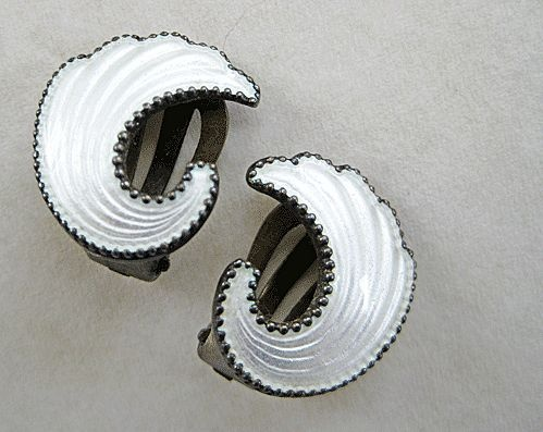 Vintage Sterling Enamel Norway Clip Earrings Elvik from quick-red-fox on Ruby Lane