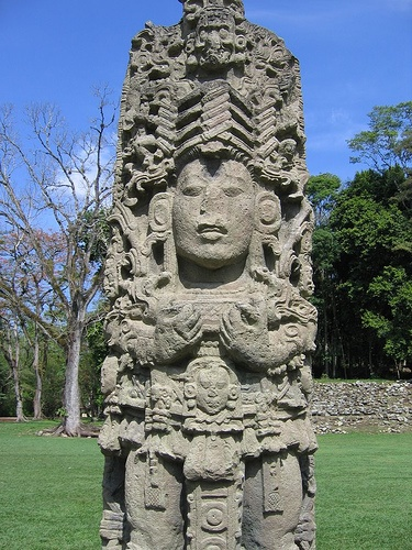 Maya Stele in Copan, Honduras. Copán is an archaeological site of the Maya civilization located in the Copán Department of western Honduras, not far from the border with Guatemala. It was the capital city of a major Classic period kingdom from the 5th to 9th centuries AD.
