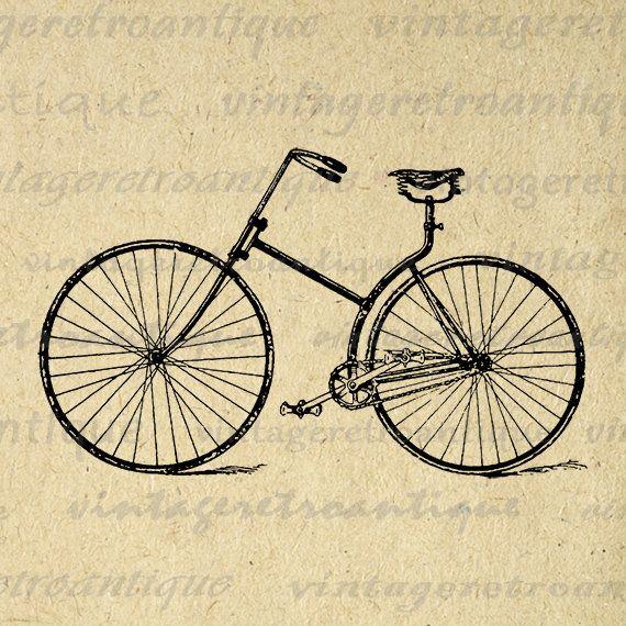 Printable Digital Antique Bicycle Graphic Bike Download Illustration Image Vintage Clip Art Jpg Png Eps 18x18 HQ 300dpi No.3052 @ vintageretroantique.etsy.com #DigitalArt #Printable #Art #VintageRetroAntique #Digital #Clipart #Download