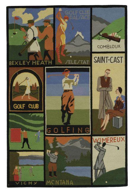 Safavieh Handmade Vintage Golf Poster Wool Rug (4' x 6'), Green, Size 3'9 x 5'9